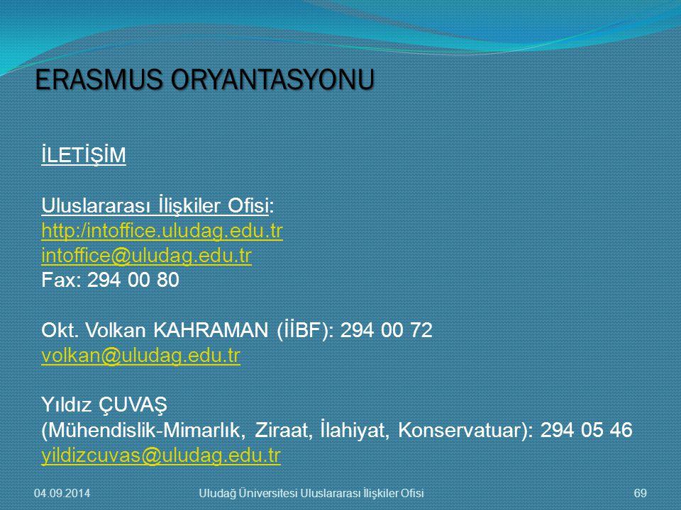 İLETİŞİM Uluslararası İlişkiler Ofisi: http:/intoffice.uludag.edu.tr intoffice@uludag.edu.tr Fax: 294 00 80 Okt.
