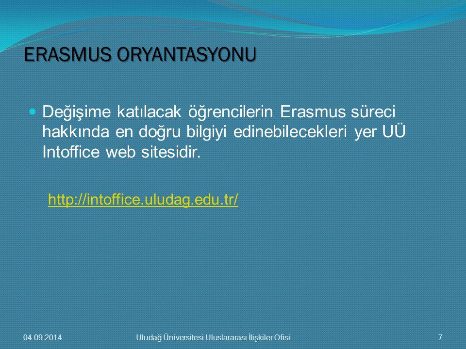 Değişime katılacak öğrencilerin Erasmus süreci hakkında en doğru bilgiyi edinebilecekleri yer UÜ Intoffice web sitesidir.