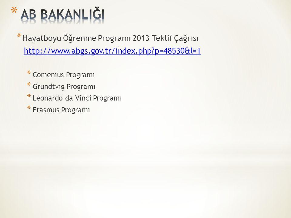 * Hayatboyu Öğrenme Programı 2013 Teklif Çağrısı http://www.abgs.gov.tr/index.php?p=48530&l=1 * Comenius Programı * Grundtvig Programı * Leonardo da Vinci Programı * Erasmus Programı