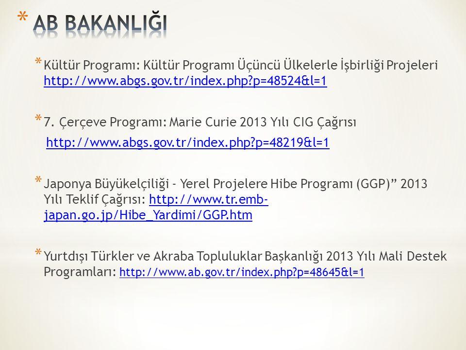 * Kültür Programı: Kültür Programı Üçüncü Ülkelerle İşbirliği Projeleri http://www.abgs.gov.tr/index.php?p=48524&l=1 http://www.abgs.gov.tr/index.php?