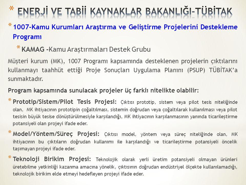 * 1007-Kamu Kurumları Araştırma ve Geliştirme Projelerini Destekleme Programı * KAMAG -Kamu Araştırmaları Destek Grubu Müşteri kurum (MK), 1007 Progra