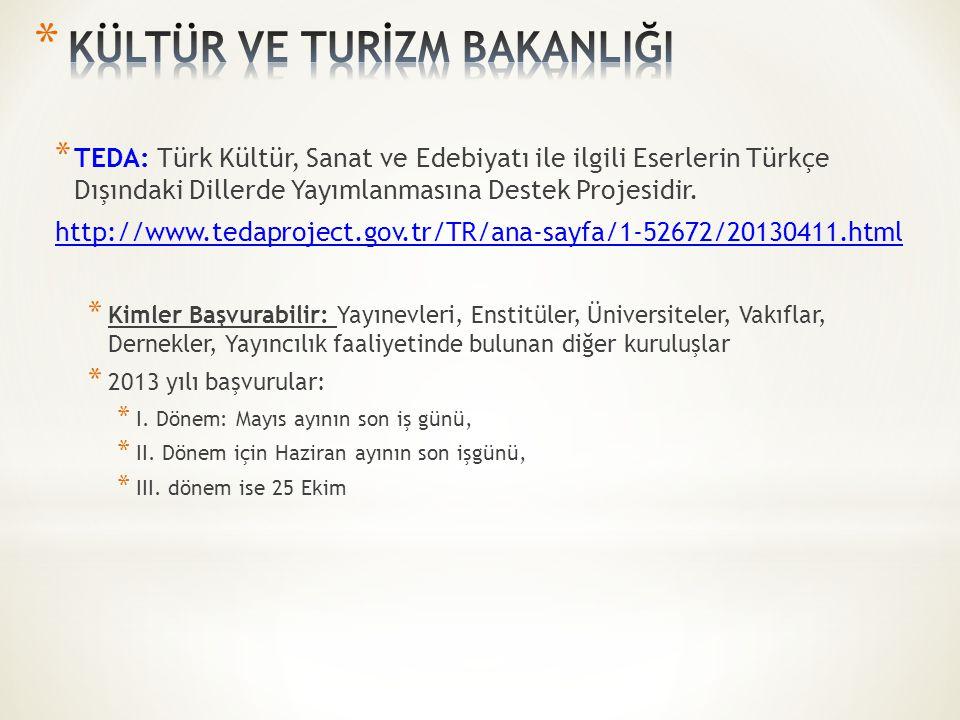 * TEDA: Türk Kültür, Sanat ve Edebiyatı ile ilgili Eserlerin Türkçe Dışındaki Dillerde Yayımlanmasına Destek Projesidir.