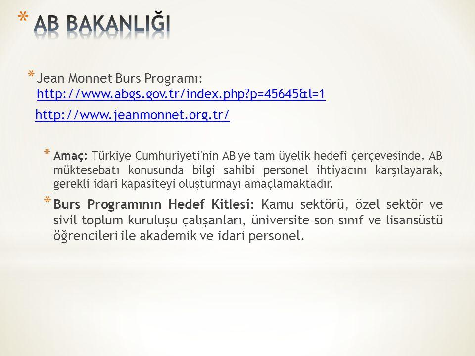 * Jean Monnet Burs Programı: http://www.abgs.gov.tr/index.php?p=45645&l=1 http://www.abgs.gov.tr/index.php?p=45645&l=1 http://www.jeanmonnet.org.tr/ * Amaç: Türkiye Cumhuriyeti nin AB ye tam üyelik hedefi çerçevesinde, AB müktesebatı konusunda bilgi sahibi personel ihtiyacını karşılayarak, gerekli idari kapasiteyi oluşturmayı amaçlamaktadır.