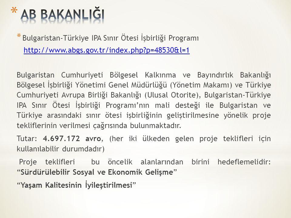 * Bulgaristan-Türkiye IPA Sınır Ötesi İşbirliği Programı http://www.abgs.gov.tr/index.php?p=48530&l=1 Bulgaristan Cumhuriyeti Bölgesel Kalkınma ve Bayındırlık Bakanlığı Bölgesel İşbirliği Yönetimi Genel Müdürlüğü (Yönetim Makamı) ve Türkiye Cumhuriyeti Avrupa Birliği Bakanlığı (Ulusal Otorite), Bulgaristan-Türkiye IPA Sınır Ötesi İşbirliği Programı'nın mali desteği ile Bulgaristan ve Türkiye arasındaki sınır ötesi işbirliğinin geliştirilmesine yönelik proje tekliflerinin verilmesi çağrısında bulunmaktadır.