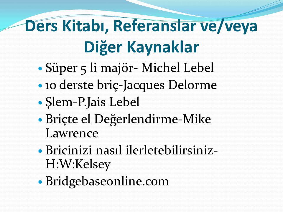 Ders Kitabı, Referanslar ve/veya Diğer Kaynaklar Süper 5 li majör- Michel Lebel 10 derste briç-Jacques Delorme Şlem-P.Jais Lebel Briçte el Değerlendir
