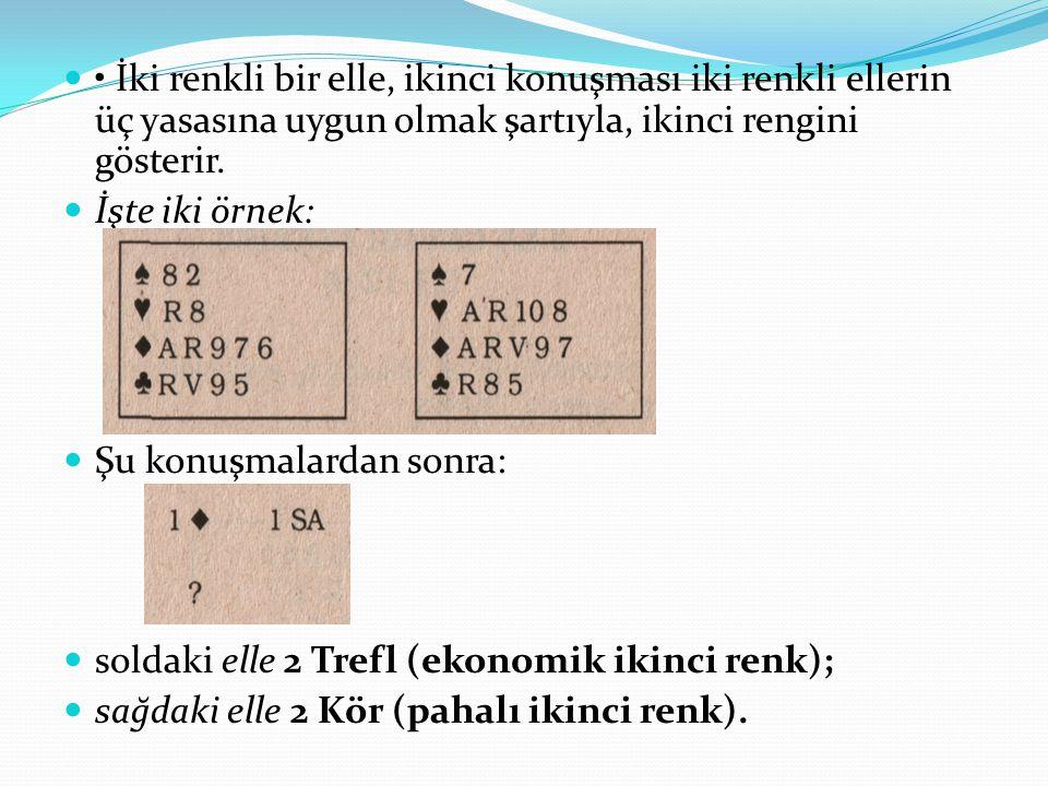 İki renkli bir elle, ikinci konuşması iki renkli ellerin üç yasasına uygun olmak şartıyla, ikinci rengini gösterir.