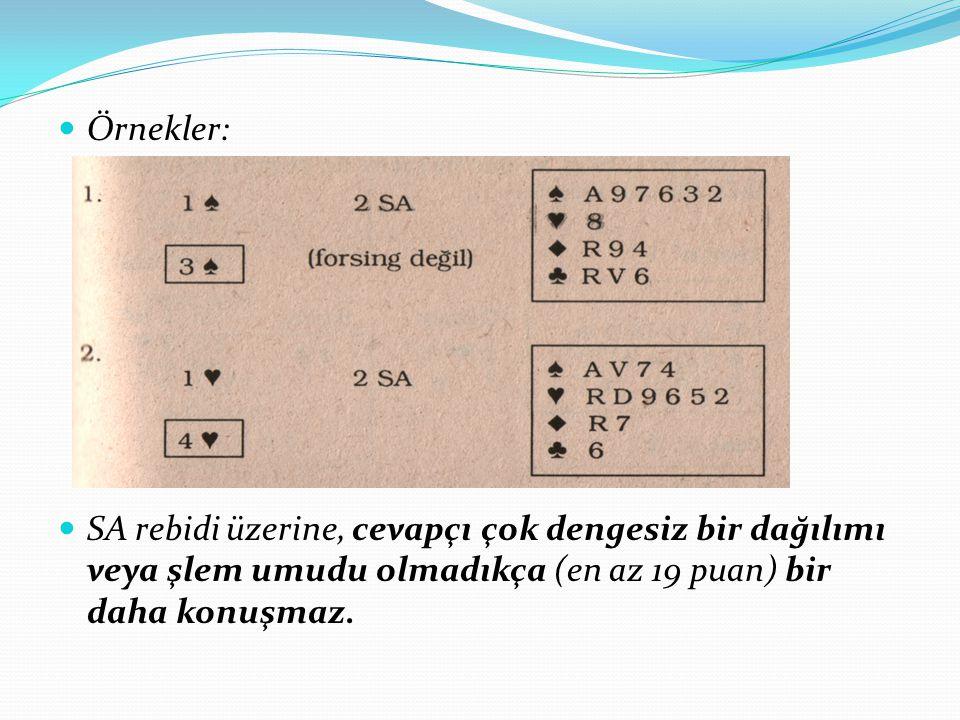 Örnekler: SA rebidi üzerine, cevapçı çok dengesiz bir dağılımı veya şlem umudu olmadıkça (en az 19 puan) bir daha konuşmaz.