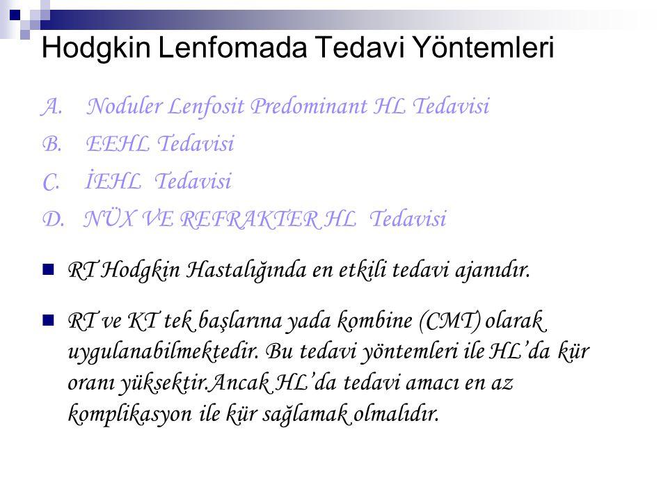 Hodgkin Lenfomada Tedavi Yöntemleri A. Noduler Lenfosit Predominant HL Tedavisi B. EEHL Tedavisi C. İEHL Tedavisi D. NÜX VE REFRAKTER HL Tedavisi RT H