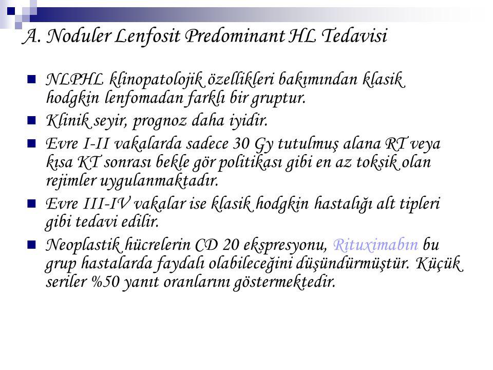 A. Noduler Lenfosit Predominant HL Tedavisi NLPHL klinopatolojik özellikleri bakımından klasik hodgkin lenfomadan farklı bir gruptur. Klinik seyir, pr