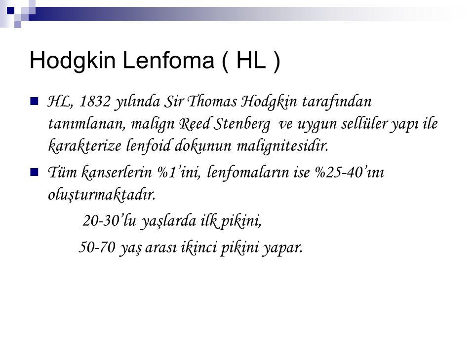 Hodgkin Lenfoma ( HL ) HL, 1832 yılında Sir Thomas Hodgkin tarafından tanımlanan, malign Reed Stenberg ve uygun sellüler yapı ile karakterize lenfoid