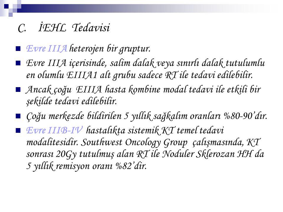 C. İEHL Tedavisi Evre IIIA heterojen bir gruptur. Evre IIIA içerisinde, salim dalak veya sınırlı dalak tutulumlu en olumlu EIIIA1 alt grubu sadece RT