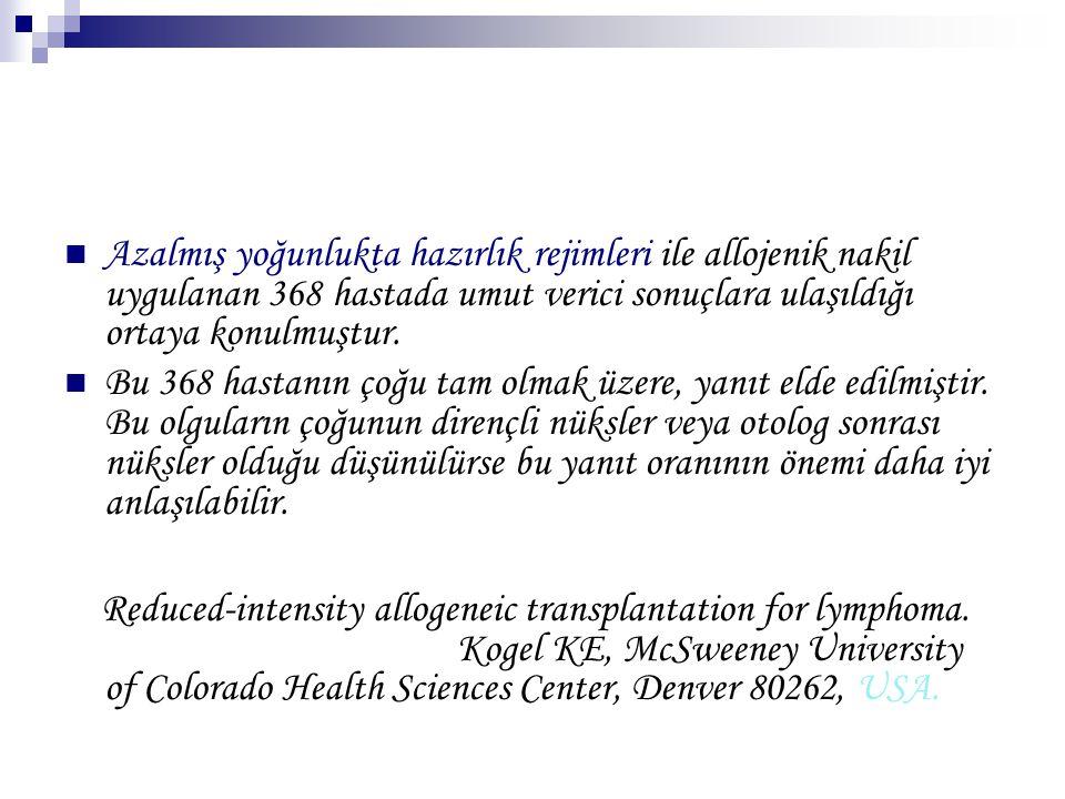 Azalmış yoğunlukta hazırlık rejimleri ile allojenik nakil uygulanan 368 hastada umut verici sonuçlara ulaşıldığı ortaya konulmuştur. Bu 368 hastanın ç
