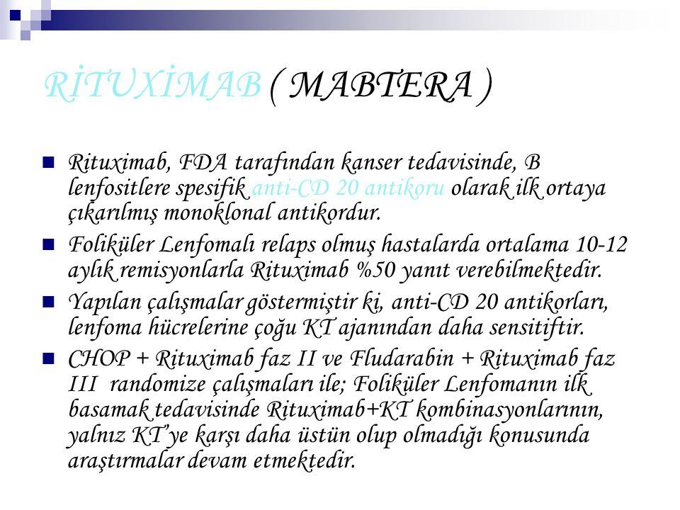 RİTUXİMAB ( MABTERA ) Rituximab, FDA tarafından kanser tedavisinde, B lenfositlere spesifik anti-CD 20 antikoru olarak ilk ortaya çıkarılmış monoklona