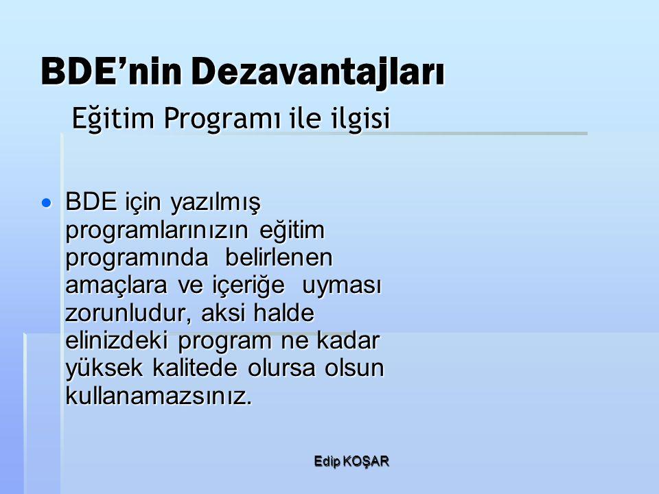 Edip KOŞAR BDE'nin Dezavantajları  BDE için yazılmış programlarınızın eğitim programında belirlenen amaçlara ve içeriğe uyması zorunludur, aksi halde