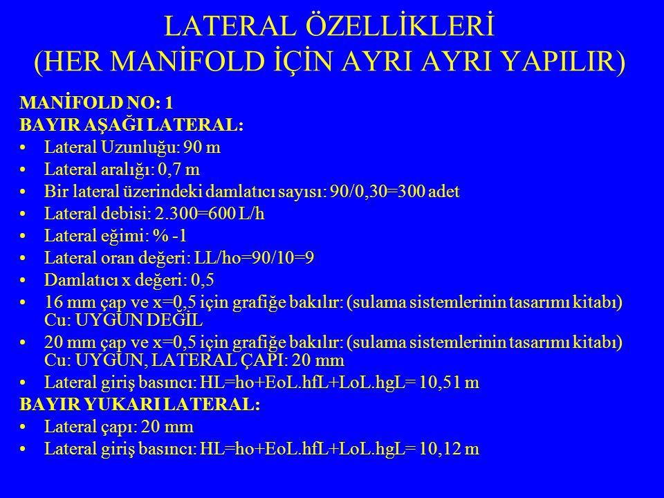 LATERAL ÖZELLİKLERİ (HER MANİFOLD İÇİN AYRI AYRI YAPILIR) MANİFOLD NO: 1 BAYIR AŞAĞI LATERAL: Lateral Uzunluğu: 90 m Lateral aralığı: 0,7 m Bir lateral üzerindeki damlatıcı sayısı: 90/0,30=300 adet Lateral debisi: 2.300=600 L/h Lateral eğimi: % -1 Lateral oran değeri: LL/ho=90/10=9 Damlatıcı x değeri: 0,5 16 mm çap ve x=0,5 için grafiğe bakılır: (sulama sistemlerinin tasarımı kitabı) Cu: UYGUN DEĞİL 20 mm çap ve x=0,5 için grafiğe bakılır: (sulama sistemlerinin tasarımı kitabı) Cu: UYGUN, LATERAL ÇAPI: 20 mm Lateral giriş basıncı: HL=ho+EoL.hfL+LoL.hgL= 10,51 m BAYIR YUKARI LATERAL: Lateral çapı: 20 mm Lateral giriş basıncı: HL=ho+EoL.hfL+LoL.hgL= 10,12 m