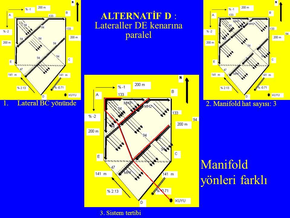 1.Lateral BC yönünde 2. Manifold hat sayısı: 3 3. Sistem tertibi Manifold yönleri farklı ALTERNATİF D : Lateraller DE kenarına paralel