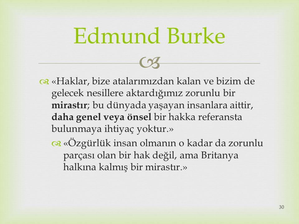  Edmund Burke  «Haklar, bize atalarımızdan kalan ve bizim de gelecek nesillere aktardığımız zorunlu bir mirastır ; bu dünyada yaşayan insanlara aitt