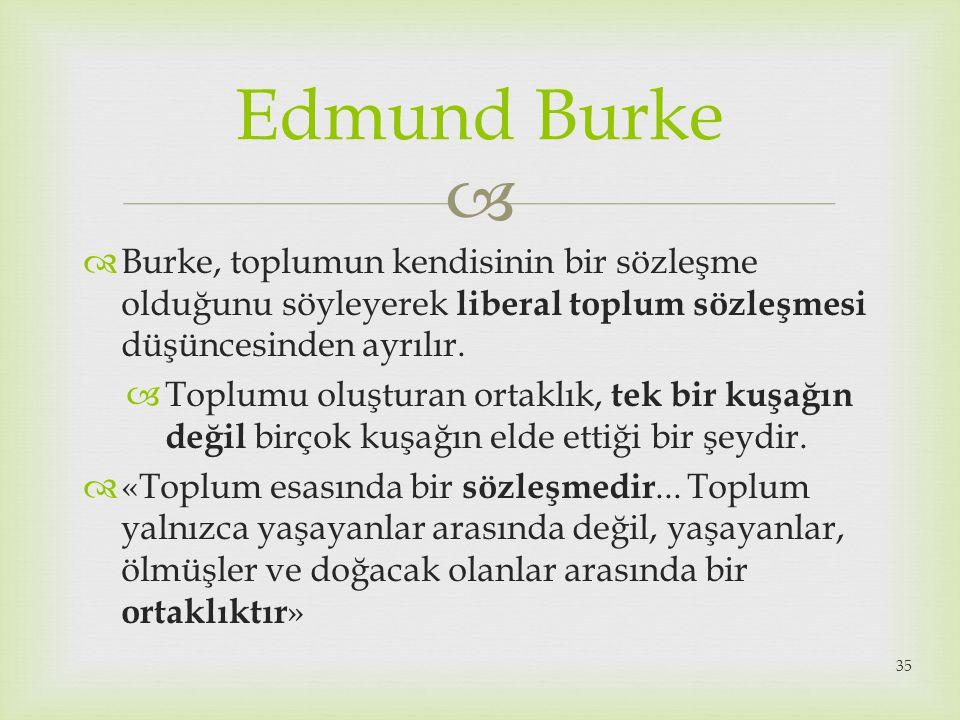   Burke, toplumun kendisinin bir sözleşme olduğunu söyleyerek liberal toplum sözleşmesi düşüncesinden ayrılır.  Toplumu oluşturan ortaklık, tek bir