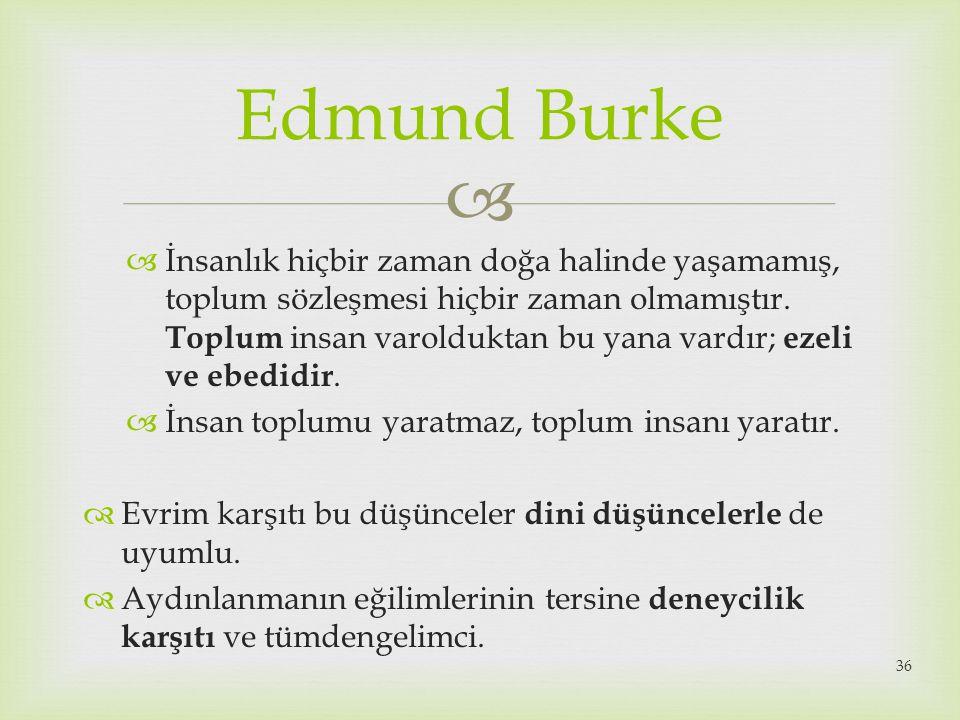  Edmund Burke  İnsanlık hiçbir zaman doğa halinde yaşamamış, toplum sözleşmesi hiçbir zaman olmamıştır. Toplum insan varolduktan bu yana vardır; eze
