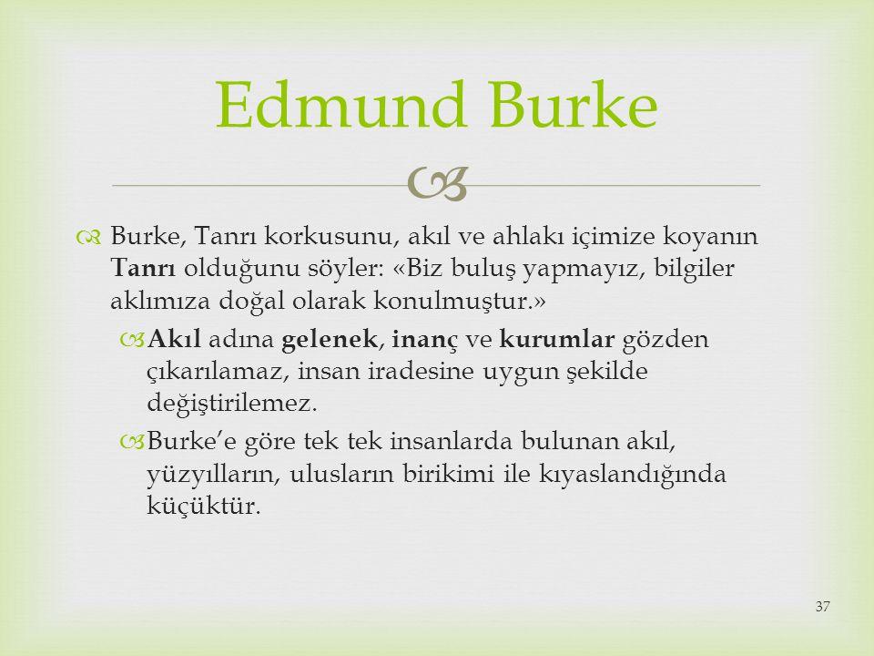   Burke, Tanrı korkusunu, akıl ve ahlakı içimize koyanın Tanrı olduğunu söyler: «Biz buluş yapmayız, bilgiler aklımıza doğal olarak konulmuştur.» 