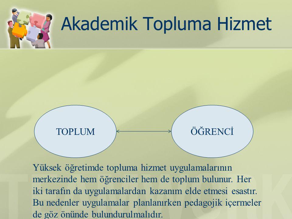 Akademik Topluma Hizmet TOPLUMÖĞRENCİ Yüksek öğretimde topluma hizmet uygulamalarının merkezinde hem öğrenciler hem de toplum bulunur.