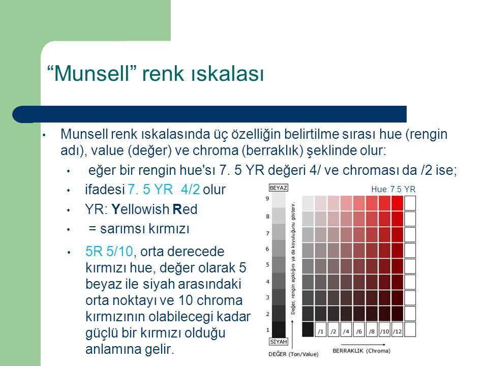 """""""Munsell"""" renk ıskalası Munsell renk ıskalasında üç özelliğin belirtilme sırası hue (rengin adı), value (değer) ve chroma (berraklık) şeklinde olur: e"""