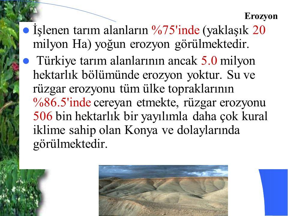 İşlenen tarım alanların %75'inde (yaklaşık 20 milyon Ha) yoğun erozyon görülmektedir. Türkiye tarım alanlarının ancak 5.0 milyon hektarlık bölümünde e