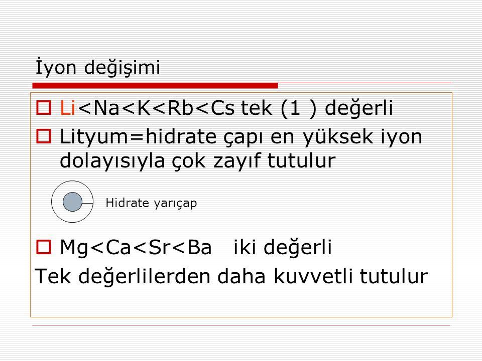 İyon değişimi  Li<Na<K<Rb<Cs tek (1 ) değerli  Lityum=hidrate çapı en yüksek iyon dolayısıyla çok zayıf tutulur  Mg<Ca<Sr<Ba iki değerli Tek değerl
