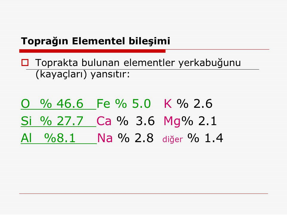 Toprağın Elementel bileşimi  Toprakta bulunan elementler yerkabuğunu (kayaçları) yansıtır: O % 46.6 Fe % 5.0 K % 2.6 Si % 27.7 Ca %3.6 Mg% 2.1 Al %8.