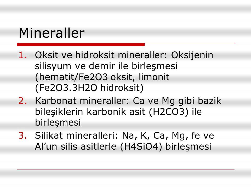 Mineraller 1.Oksit ve hidroksit mineraller: Oksijenin silisyum ve demir ile birleşmesi (hematit/Fe2O3 oksit, limonit (Fe2O3.3H2O hidroksit) 2.Karbonat