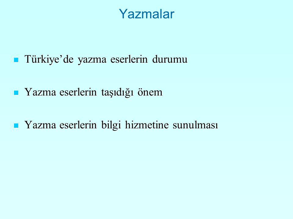 Yazmalar Türkiye'de yazma eserlerin durumu Türkiye'de yazma eserlerin durumu Yazma eserlerin taşıdığı önem Yazma eserlerin taşıdığı önem Yazma eserlerin bilgi hizmetine sunulması Yazma eserlerin bilgi hizmetine sunulması