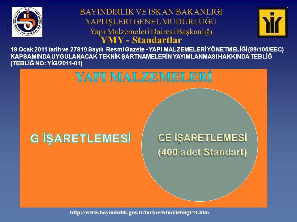 BAYINDIRLIK VE İSKAN BAKANLIĞI YAPI İŞLERİ GENEL MÜDÜRLÜĞÜ Yapı Malzemeleri Dairesi Başkanlığı YMY - Standartlar 18 Ocak 2011 tarih ve 27819 Sayılı Resmi Gazete - YAPI MALZEMELERİ YÖNETMELİĞİ (89/106/EEC) KAPSAMINDA UYGULANACAK TEKNİK ŞARTNAMELERİN YAYIMLANMASI HAKKINDA TEBLİĞ (TEBLİĞ NO: YİG/2011-01) http://www.bayindirlik.gov.tr/turkce/html/teblig124.htm