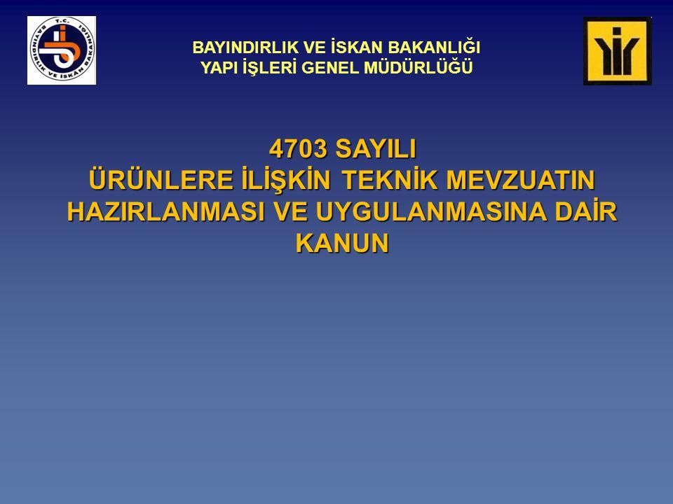BAYINDIRLIK VE İSKAN BAKANLIĞI YAPI İŞLERİ GENEL MÜDÜRLÜĞÜ Yapı Malzemeleri Dairesi Başkanlığı AB TEKNİK MEVZUATINA UYUM ÇALIŞMALARI  1/95 OKK  AB ile Türkiye arasında teknik engellerin kaldırılması (Madde 8-11)- Malların serbest dolaşımı  2/97 OKK  Türkiye tarafından uyumlaştırılacak AB mevzuatı listesi  Bakanlar Kurulu Kararı  Koordinasyon ve yatay mevzuat hazırlama: DTM  Dikey mevzuat: İlgili kuruluşlar