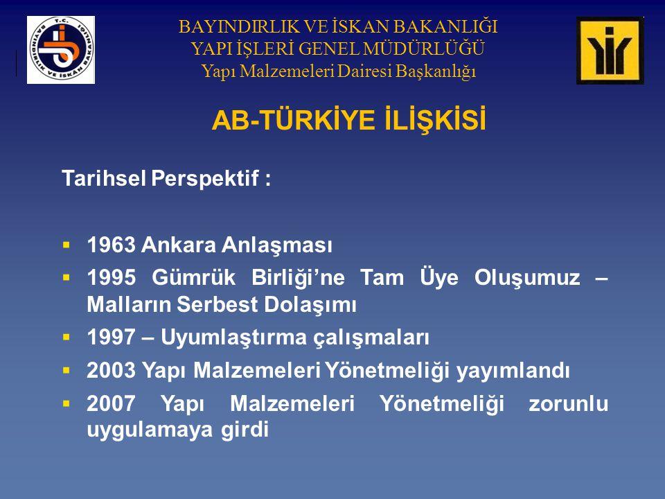 BAYINDIRLIK VE İSKAN BAKANLIĞI YAPI İŞLERİ GENEL MÜDÜRLÜĞÜ Yapı Malzemeleri Dairesi Başkanlığı AB-TÜRKİYE İLİŞKİSİ Tarihsel Perspektif :  1963 Ankara Anlaşması  1995 Gümrük Birliği'ne Tam Üye Oluşumuz – Malların Serbest Dolaşımı  1997 – Uyumlaştırma çalışmaları  2003 Yapı Malzemeleri Yönetmeliği yayımlandı  2007 Yapı Malzemeleri Yönetmeliği zorunlu uygulamaya girdi