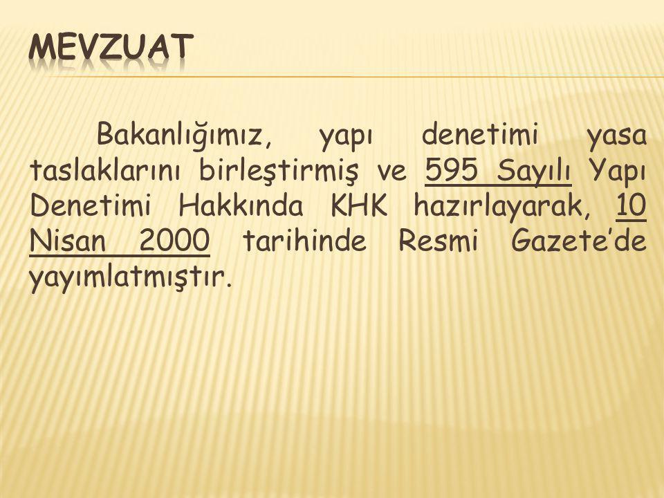Bakanlığımız, yapı denetimi yasa taslaklarını birleştirmiş ve 595 Sayılı Yapı Denetimi Hakkında KHK hazırlayarak, 10 Nisan 2000 tarihinde Resmi Gazete
