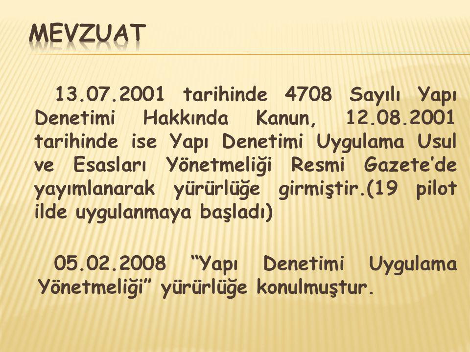 13.07.2001 tarihinde 4708 Sayılı Yapı Denetimi Hakkında Kanun, 12.08.2001 tarihinde ise Yapı Denetimi Uygulama Usul ve Esasları Yönetmeliği Resmi Gaze