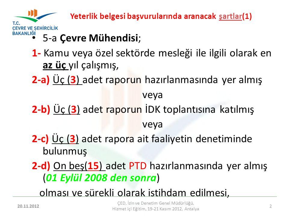 04.09.2014 ÇED, İzin ve Denetim Genel Müdürlüğü, Hizmetiçi Eğitim, 20-22 Kasım 2012, Antalya 25 YETERLİK BELGESİ TEBLİĞİNİN UYGULANMASINDA İL ÇEVRE VE ŞEHİRCİLİK MÜDÜRLÜKLERİNİN YÜKÜMLÜLÜKLERİ h) Proje Tanıtım Dosyalarının incelenmesi aşamasında, yazılı talep ettiğiniz halde; 5 inci maddenin birinci fıkrasının (a), (b) ve (c) bentleri kapsamında görevli personelinden herhangi birini Proje Tanıtım Dosyası hakkında bilgi vermek üzere, İl Müdürlüğünde hazır bulundurmayan kurum/kuruluş hakkında işlem yapmak üzere tutanak tutularak, Bakanlığımıza bildirilmesi,