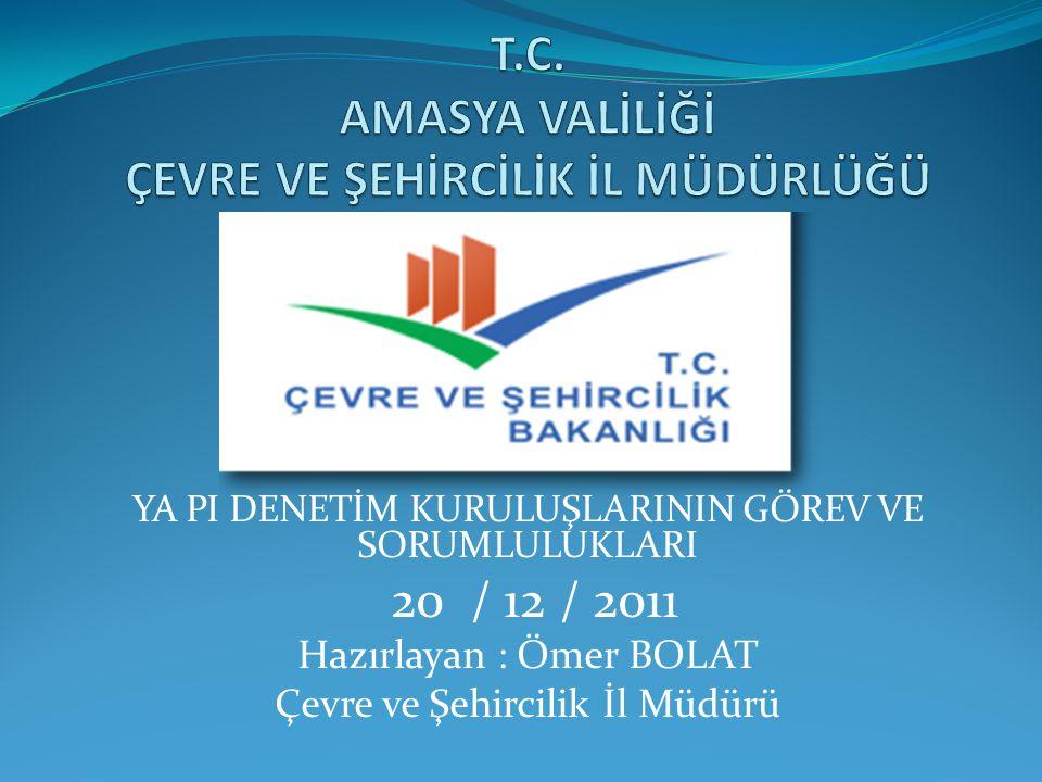 YA PI DENETİM KURULUŞLARININ GÖREV VE SORUMLULUKLARI 20 / 12 / 2011 Hazırlayan : Ömer BOLAT Çevre ve Şehircilik İl Müdürü