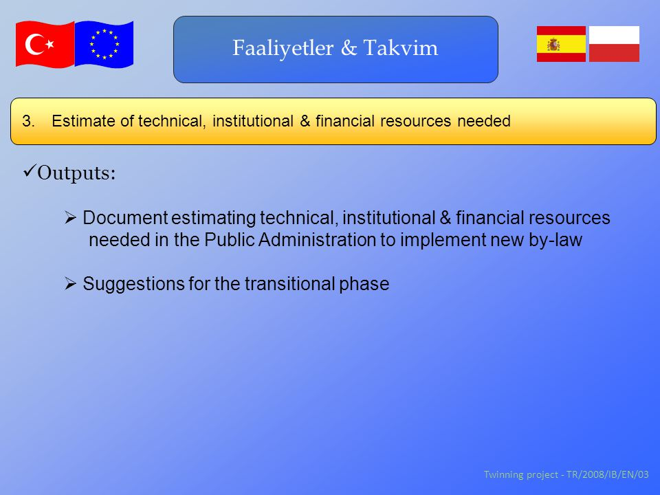 Twinning project - TR/2008/IB/EN/03 3. Estimate of technical, institutional & financial resources needed Faaliyetler & Takvim Outputs:  Document esti