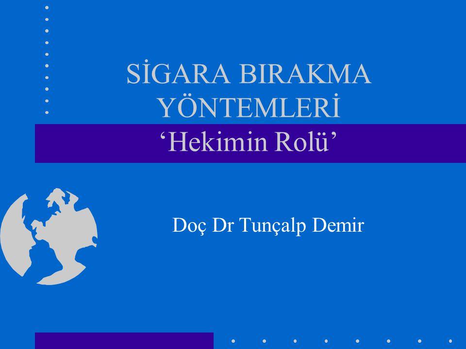 SİGARA BIRAKMA YÖNTEMLERİ 'Hekimin Rolü' Doç Dr Tunçalp Demir