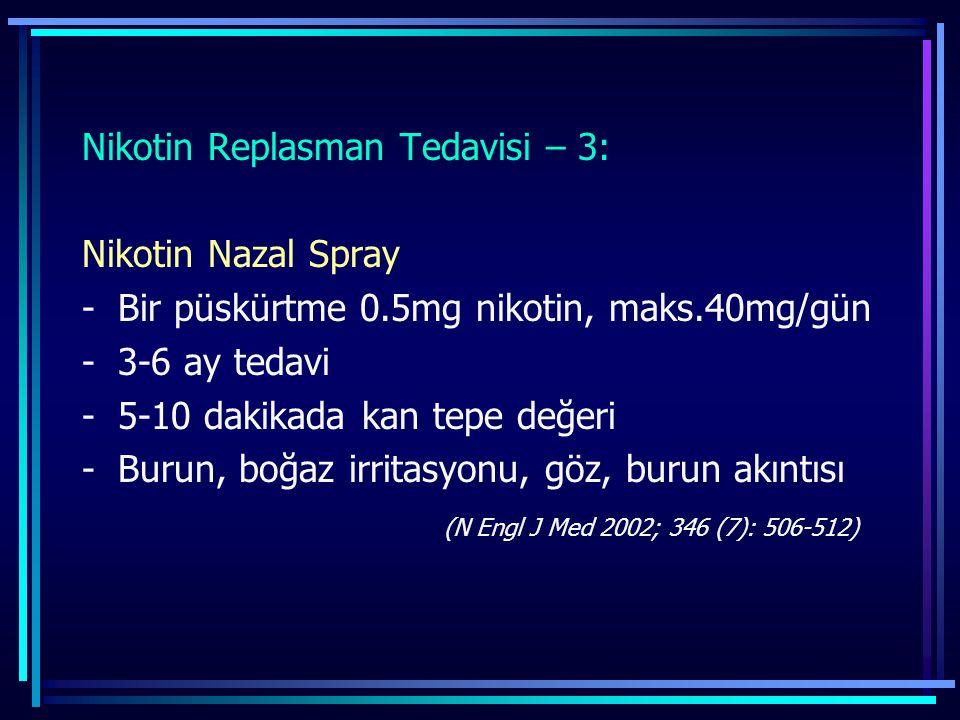 Nikotin Replasman Tedavisi – 3: Nikotin Nazal Spray -Bir püskürtme 0.5mg nikotin, maks.40mg/gün -3-6 ay tedavi -5-10 dakikada kan tepe değeri -Burun,