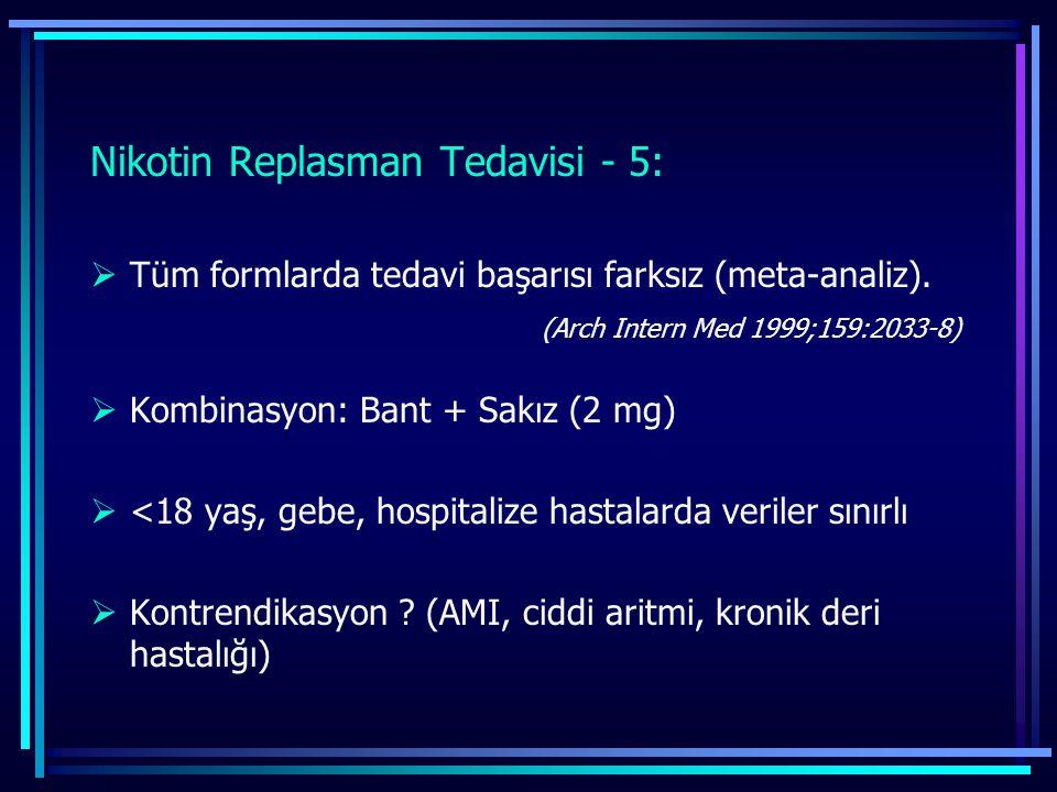 Nikotin Replasman Tedavisi - 5:  Tüm formlarda tedavi başarısı farksız (meta-analiz). (Arch Intern Med 1999;159:2033-8)  Kombinasyon: Bant + Sakız (