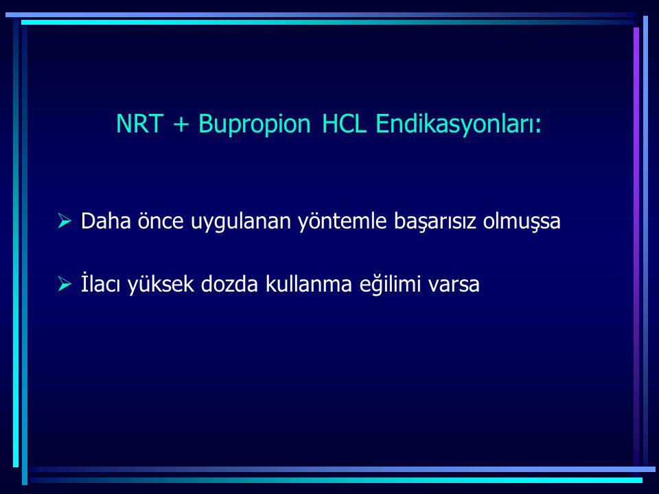 NRT + Bupropion HCL Endikasyonları:  Daha önce uygulanan yöntemle başarısız olmuşsa  İlacı yüksek dozda kullanma eğilimi varsa