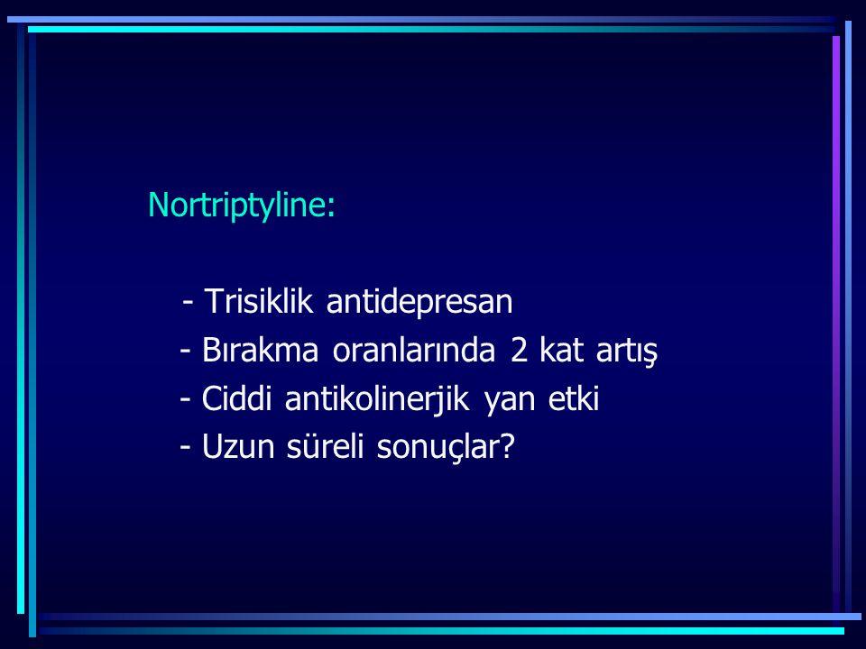 Nortriptyline: - Trisiklik antidepresan - Bırakma oranlarında 2 kat artış - Ciddi antikolinerjik yan etki - Uzun süreli sonuçlar?