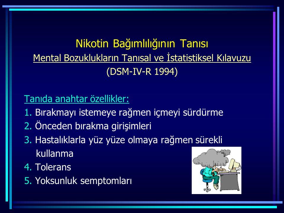 Nikotin Bağımlılığının Tanısı Mental Bozuklukların Tanısal ve İstatistiksel Kılavuzu (DSM-IV-R 1994) Tanıda anahtar özellikler: 1. Bırakmayı istemeye