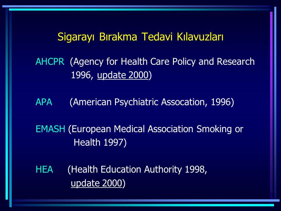 Sigarayı Bırakma Tedavi Kılavuzları AHCPR (Agency for Health Care Policy and Research 1996, update 2000) APA (American Psychiatric Assocation, 1996) E