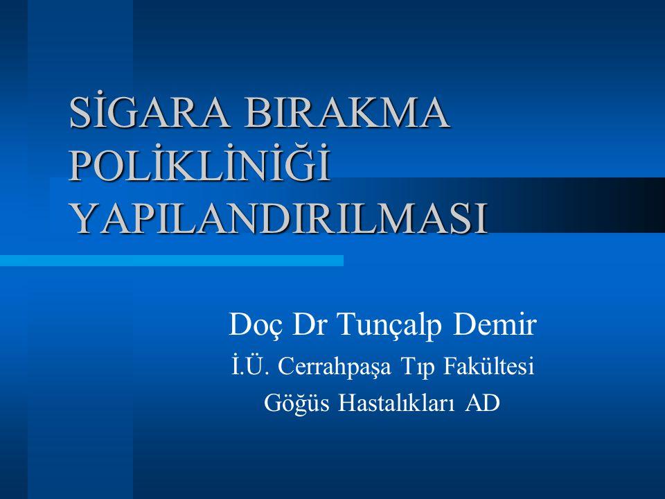 SİGARA BIRAKMA POLİKLİNİĞİ YAPILANDIRILMASI Doç Dr Tunçalp Demir İ.Ü.
