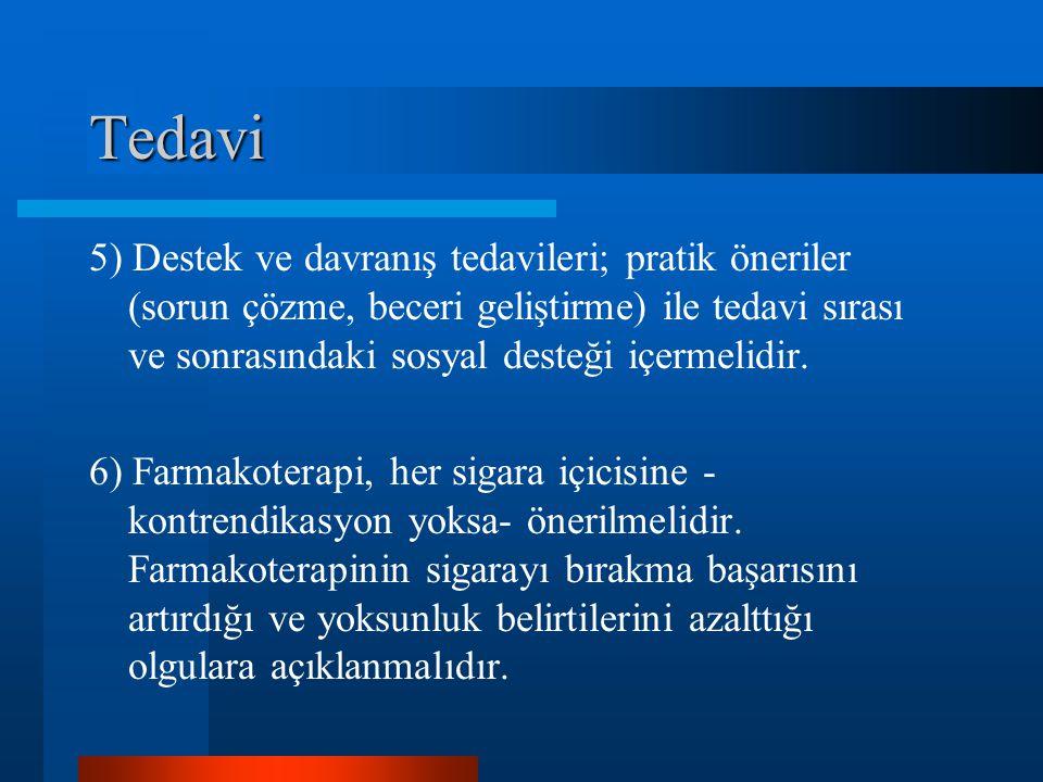 Tedavi 5) Destek ve davranış tedavileri; pratik öneriler (sorun çözme, beceri geliştirme) ile tedavi sırası ve sonrasındaki sosyal desteği içermelidir.