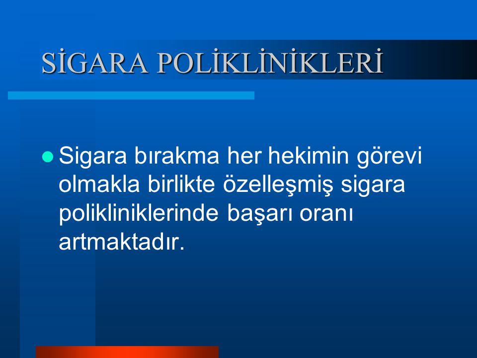 SİGARA POLİKLİNİKLERİ Sigara bırakma her hekimin görevi olmakla birlikte özelleşmiş sigara polikliniklerinde başarı oranı artmaktadır.