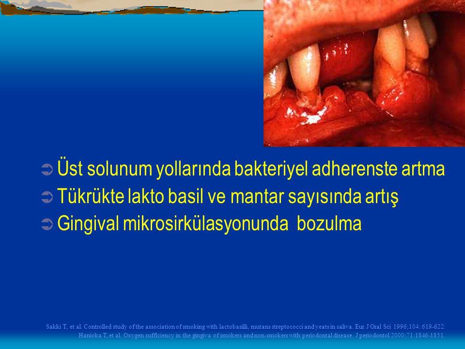  Üst solunum yollarında bakteriyel adherenste artma  Tükrükte lakto basil ve mantar sayısında artış  Gingival mikrosirkülasyonunda bozulma Sakki T,